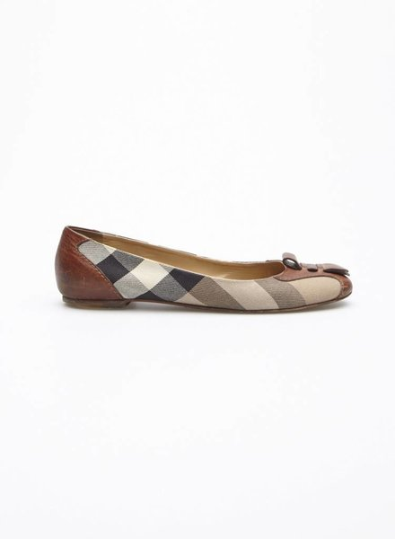Burberry LEATHER AND PLAID BALLET FLATS