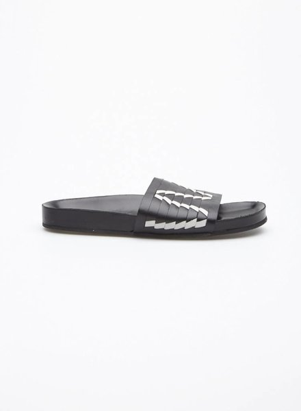Thakoon Addition BLACK AND WHITE STRIPED LEATHER SANDALS