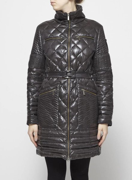Add GREY-BLACK QUILTED DOWN COAT