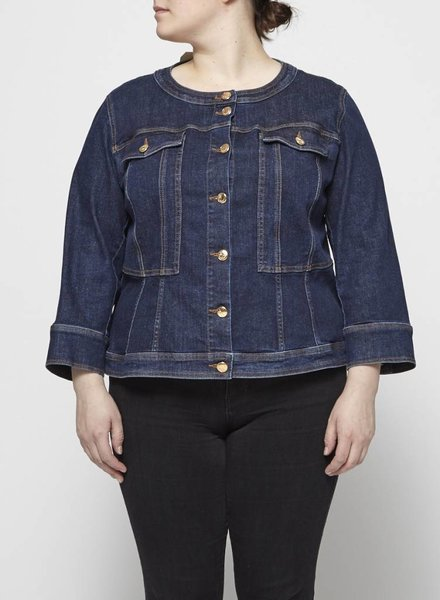 Marina Rinaldi ROUND COLLAR DENIM JACKET