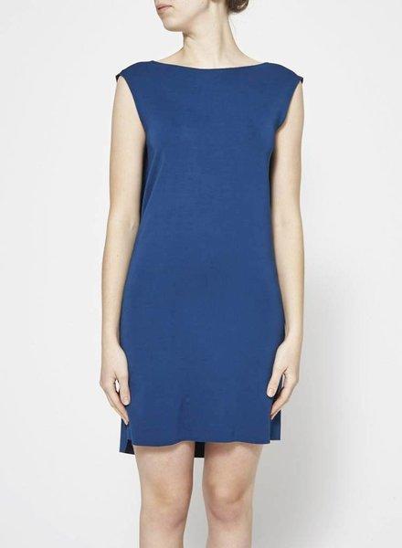 COS BLUE DRAPE BACK DRESS