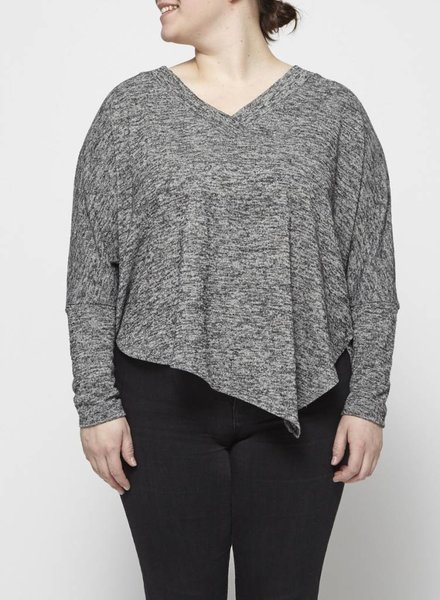 Melissa Nepton ASYMMETRICAL GREY SWEATER WITH WOOL