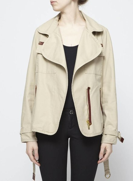 Michael Kors BEIGE COAT WITH BROWN LEATHER DETAILS