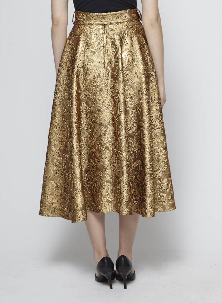 Lanvin Jupe fleurie en brocart doré