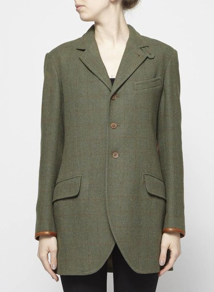 Ralph Lauren GREEN WOOL JACKET WITH LEATHER ELBOW