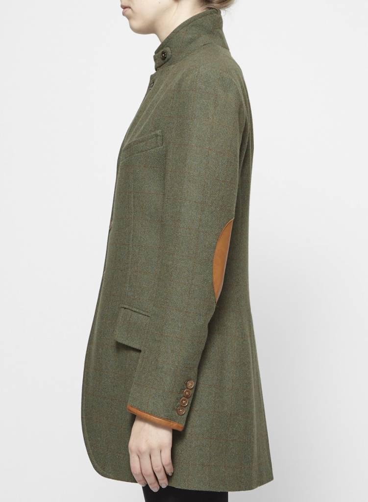 Ralph Lauren Veston vert en laine coudes en cuir marron