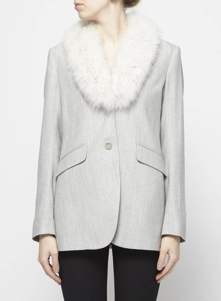 Theory LIGHT GREY BLAZER WITH REMOVABLE FUR COLLAR