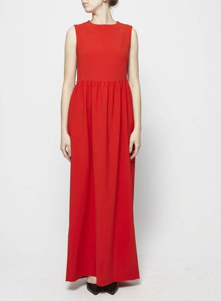 Éditions de Robes RED MAXI DRESS WITH OPEN BACK