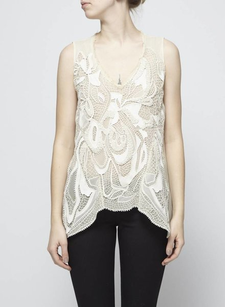 Elie Tahari CREAM SILK TOP WITH LACE DETAILS