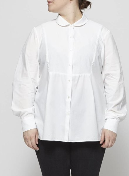 Marina Rinaldi WHITE BLOUSE WITH PIQUÉ PLASTRON