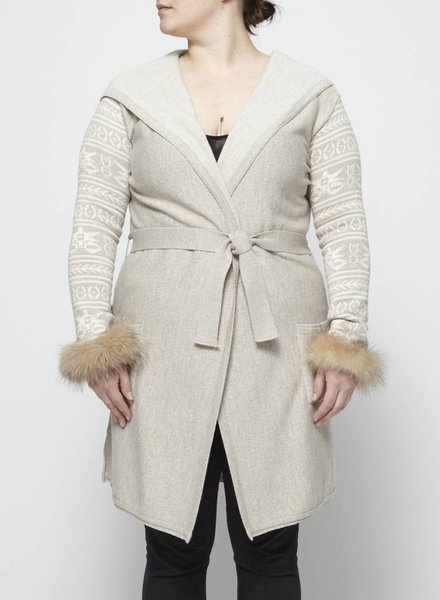 Harricana LONG CARDIGAN WITH FUR SLEEVE