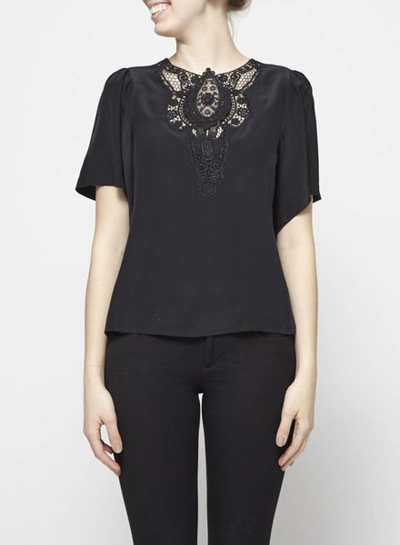 Nanette Lepore BLACK SILK TOP WITH GUIPURE LACE PANEL