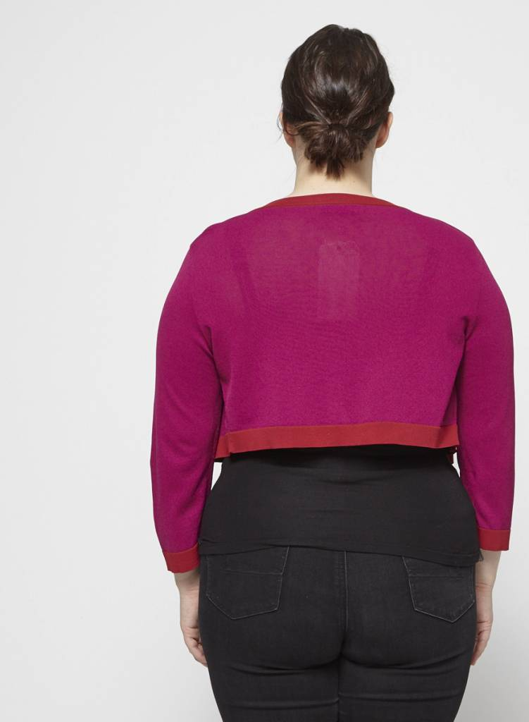 She's so Red and Fuchsia Cropped Cardigan