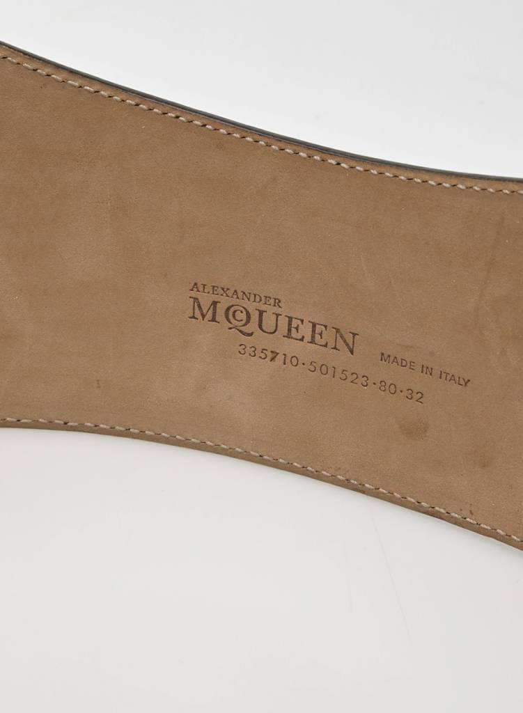 Alexander McQueen Ceinture en cuir noir