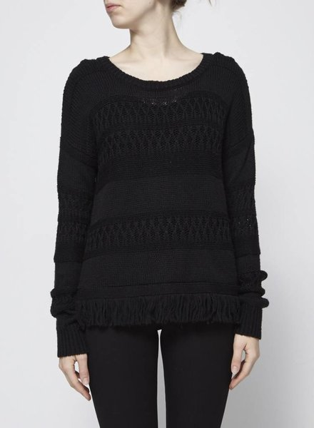 Rails BLACK KNIT SWEATER WITH FRINGES