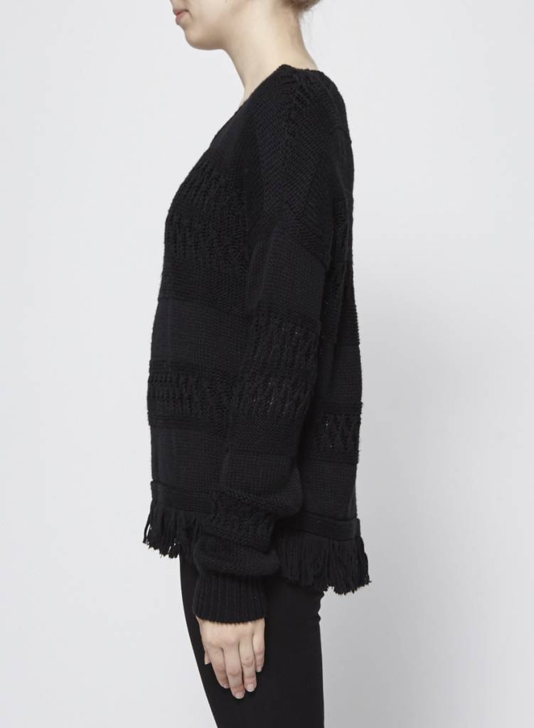Rails Pull en tricot noir avec franges
