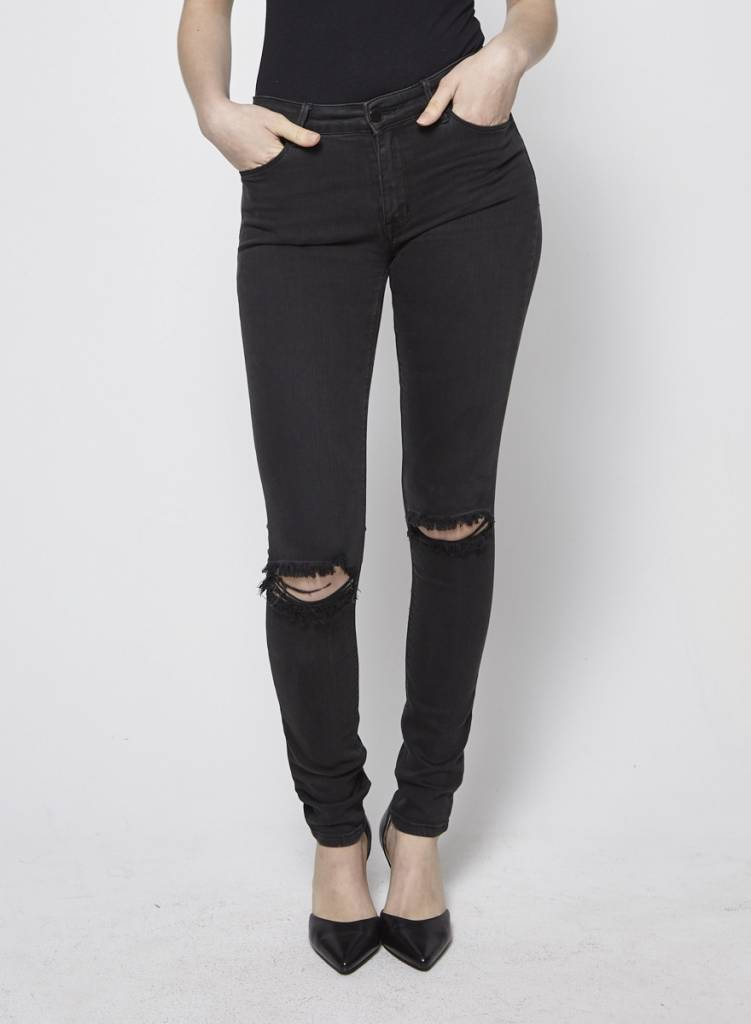 RES Denim Black Distressed Skinny Jeans