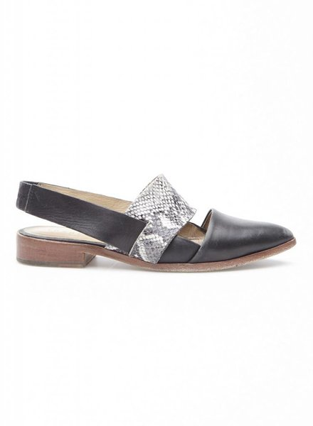 Trenery BLACK AND SNAKE PRINT LEATHER SHOES