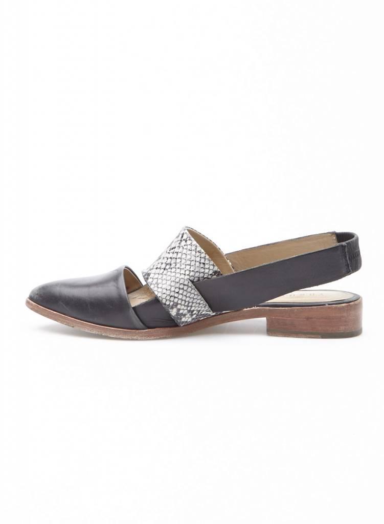 Trenery Chaussures ouvertes en cuir noir et effet serpent