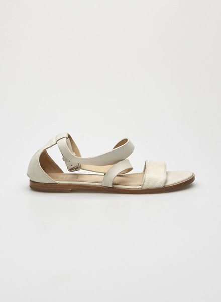 Brunello Cucinelli WHITE LEATHER AND CALF HAIR SANDALS