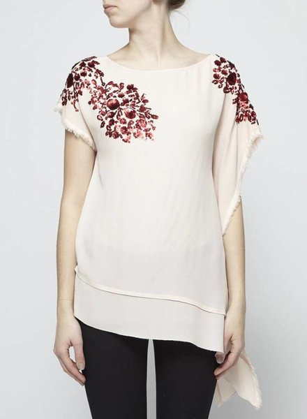 By Malene Birger EMBROIDERED ASYMMETRIC SILK TOP