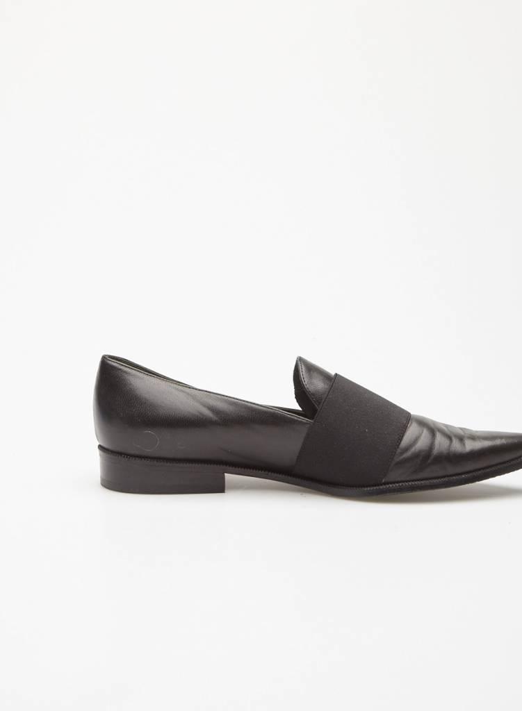 Stuart Weitzman Flâneurs noirs en cuir à bande élastique