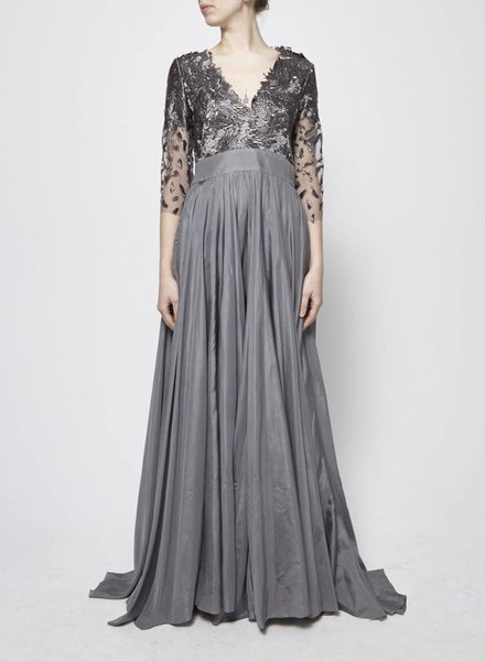 Designer inconnu GREY SILK AND BROCADE MAXI DRESS