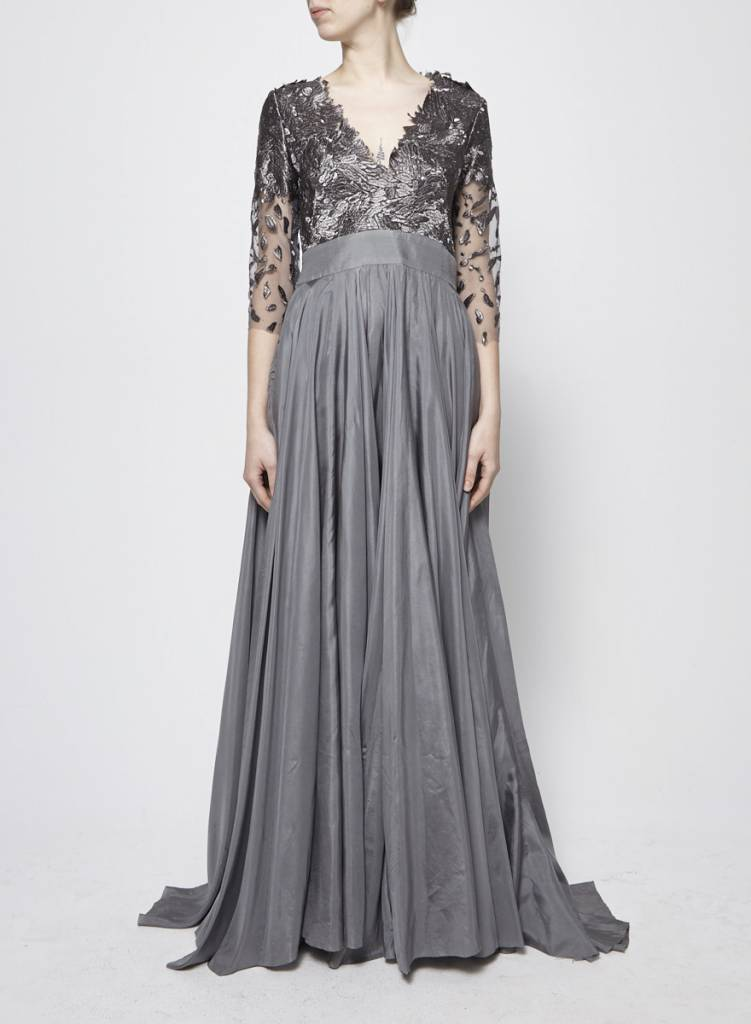 Designer inconnu Grey Silk and Brocade Maxi Dress