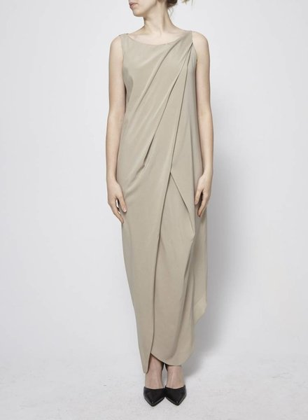 Brunello Cucinelli SAND DRAPED SILK DRESS (SIZE XXL)