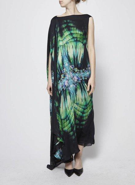 Roberto Cavalli ASYMMETRIC SILK MAXI DRESS WITH CRYSTAL PRINTS
