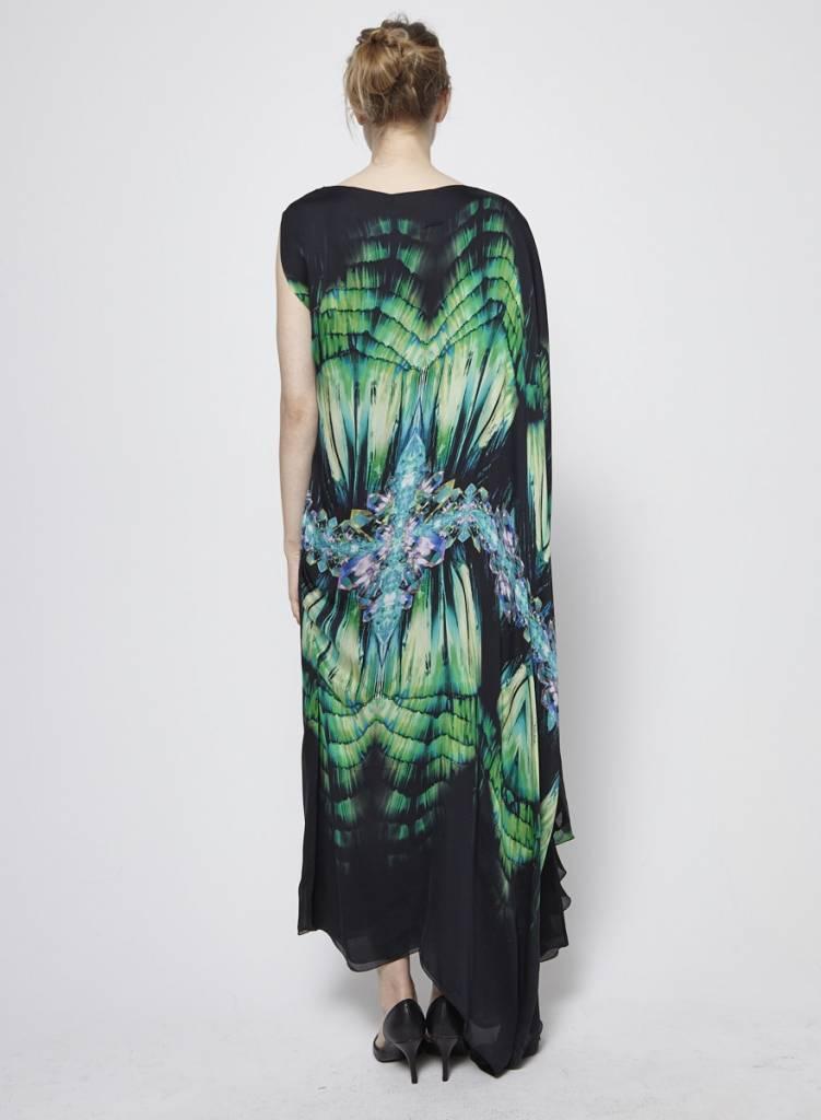Roberto Cavalli Robe longue asymétrique en soie à motifs cristaux