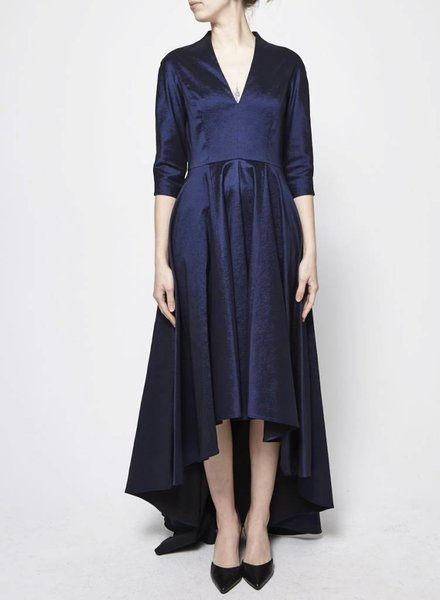 Éditions de Robes NAVY ASYMMETRIC TAFFETA DRESS