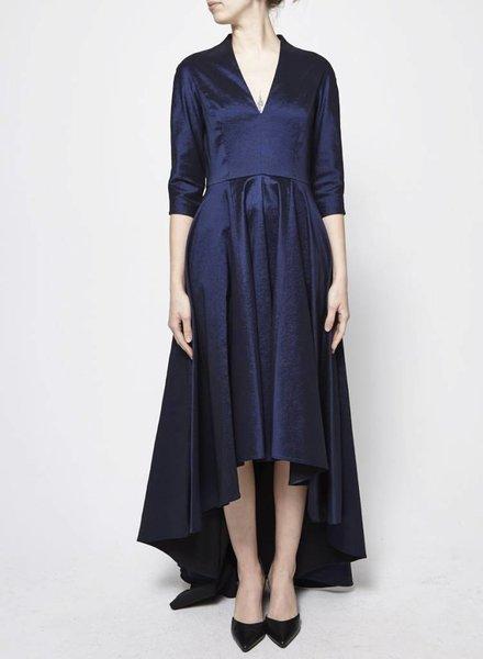 Éditions de Robes ROBE BLEU MARINE ASYMÉTRIQUE EN TAFFETAS