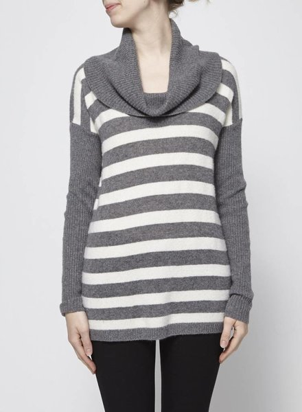 Velvet GREY AND WHITE STRIPED COWL NECK SWEATER