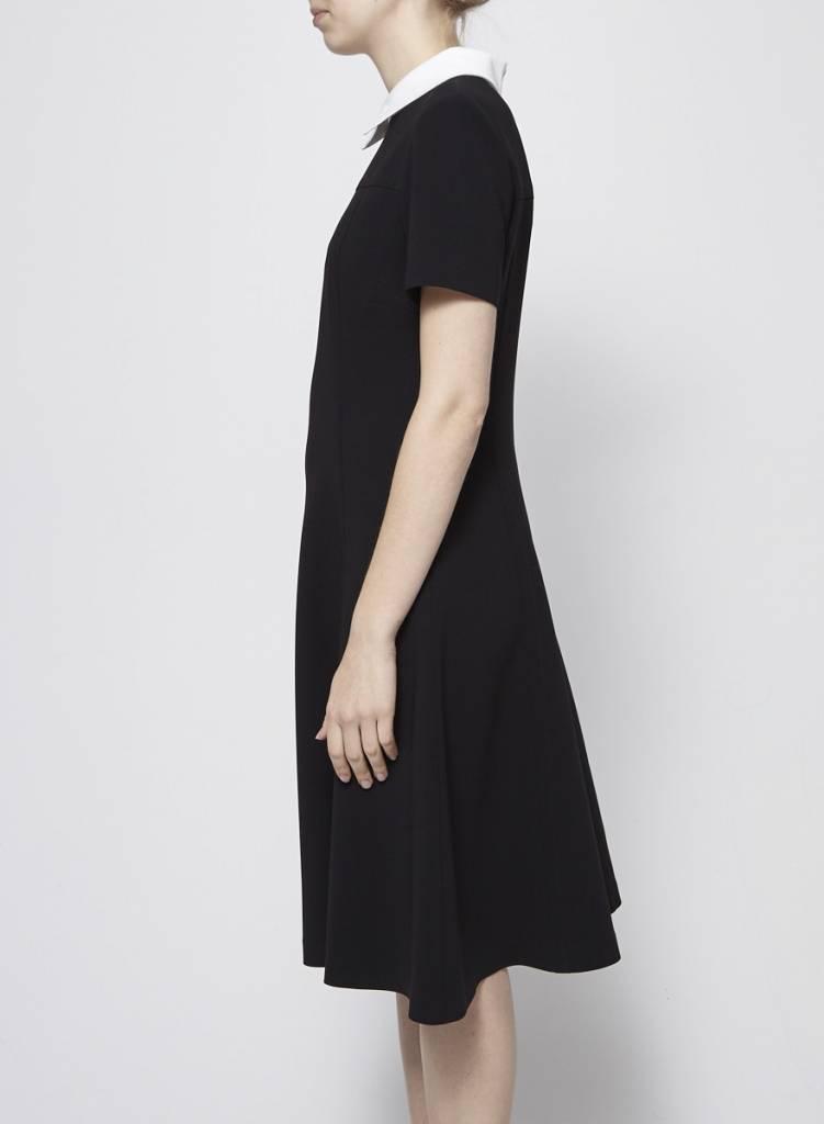 Éditions de Robes Robe noire à col chemise blanc