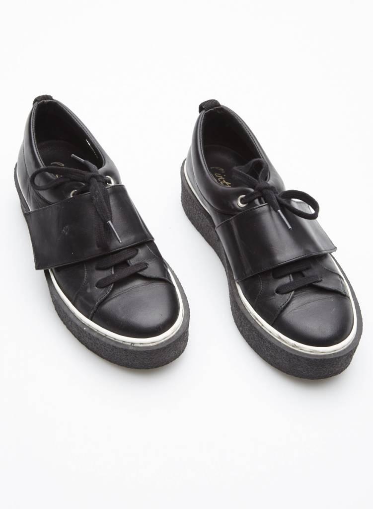 L'intervalle Black Leather Flatform Shoes
