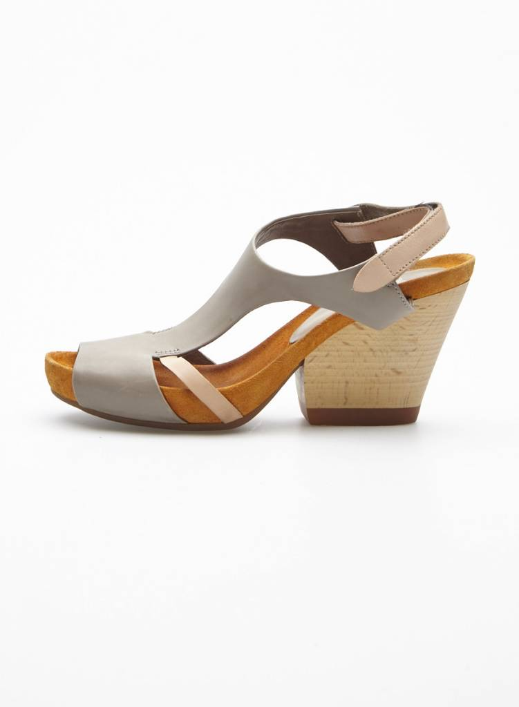 Camper Grey and Pink Sandals with Wooden Heels