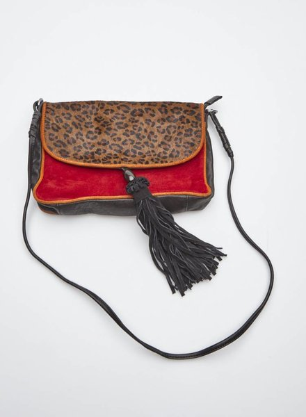 Mellow Yellow RED, BLACK AND LEOPARD LEATHER HANDBAG