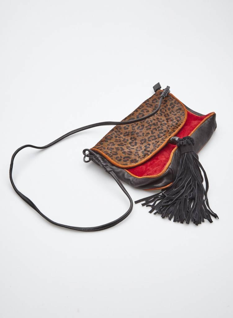 Mellow Yellow Sac à main en cuir rouge, noir et léopard