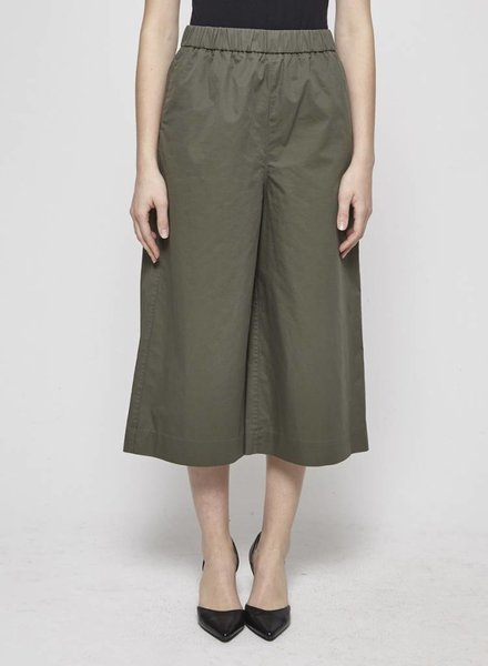 COS KHAKI WIDE-LEG COTTON PANTS WITH ELASTIC WAISTBAND