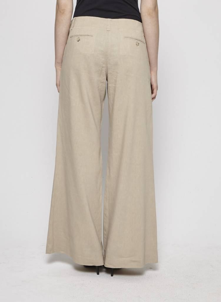 395b77f0b84d1b Beige Wide-Leg Linen Pants - THEORY - DEUXIEME EDITION / SECOND EDITION