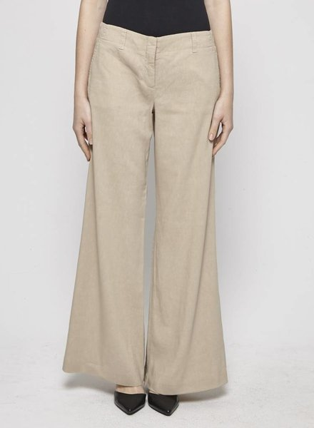 Theory BEIGE WIDE-LEG LINEN PANTS
