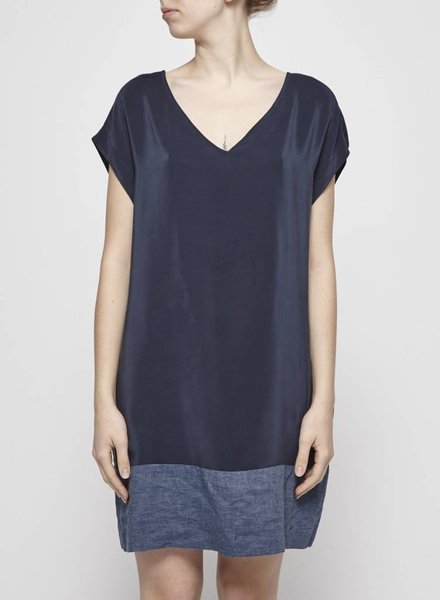 Amanda Moss SILK AND LINEN NAVY DRESS