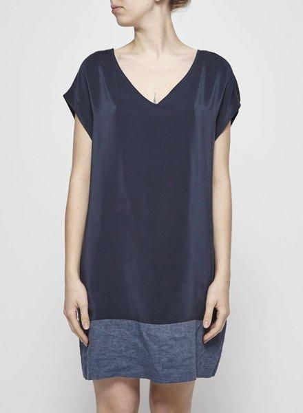 Amanda Moss SILK AND LINEN NAVY DRESS