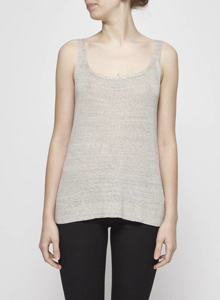 Eileen Fisher BEIGE SILK AND LINEN KNIT TANK