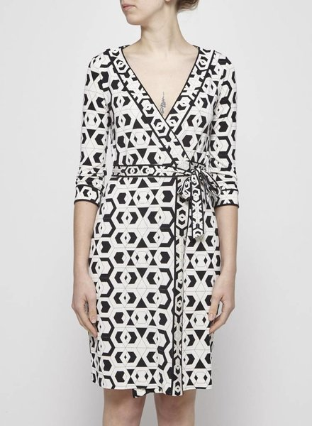 Diane von Furstenberg GEOMETRIC SILK WRAP DRESS