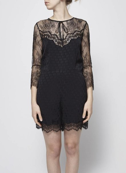 Sandro BLACK LACE AND POLKA-DOT PLAYSUIT