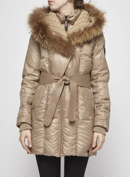 Rudsak BEIGE DOWN WINTER COAT WITH FUR COLLAR
