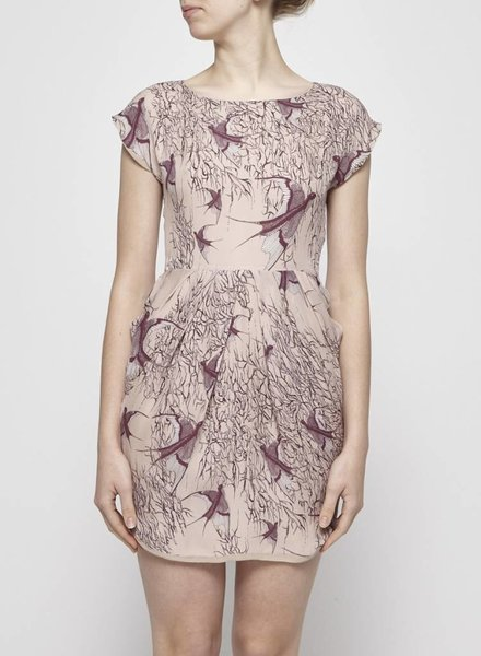Valerie Dumaine PINK BIRD SILK PRINTED DRESS