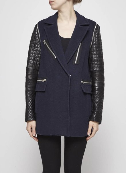 Rebecca Taylor NAVY WOOL COAT WITH REMOVABLE LEATHER SLEEVES